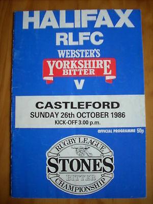 Halifax v Castleford programme 26.10.86