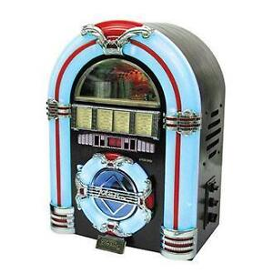 STEEPLETONE-Jukebox-Cd-Player-Radio-USB-MP3-SD-Dark-Wood-NEW