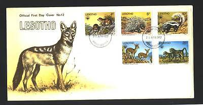 LESOTHO #228-232 FDC   - OFFICIAL- ANIMALS  - WWF -1977