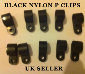 6mm-1-4-50-PCS-Black-Nylon-Plastic-P-Clips-Automotive-Cable-Wire-Pipe-Clamps