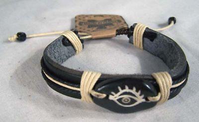 4 Leather Bone Carved Third Eye Bracelet Jewelry Chakra