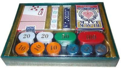LUXURY MOTHER OF PEARL POKER CHIP, CARD, DICE SET