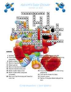 Baby sesame elmo custom crossword baby shower puzzles for Backyard party decoration crossword