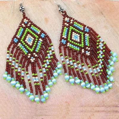 Brown Green Seed Beaded Native Style Inspired Handmade Beaded Earrings