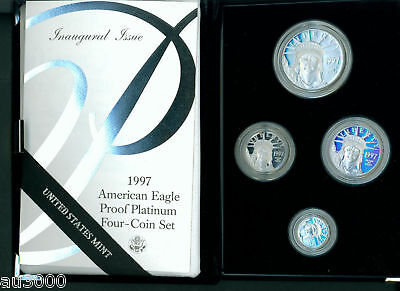 Click now to see the BUY IT NOW Price! 1997-W 4-COIN SET PROOF PLATINUM EAGLE STATUE LIBERTY $100 $50 $25 $10 BOX & COA