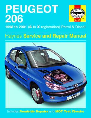 Haynes 3757 Workshop Repair Manual Guide Peugeot 206 1998 - 2001 ( S TO X REG)