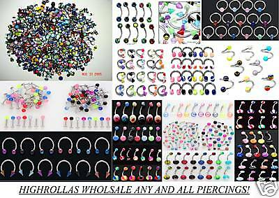 Wholesale Body Jewelry Lot Captive-gauges--nipple-tongue-belly-eyebrow Rings 200