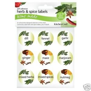 45 KITCHEN CRAFT 3.5CM ASSORTED SELF ADHESIVE HERB & SPICE JAR LABELS