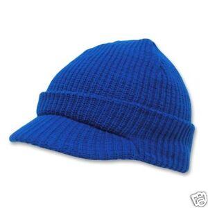 Royal Blue GI Jeep Cap Knit Beanie Skully Winter Hat Radar Style Military Campus