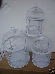 SHABBY CHIC  ROUND WHITE WOOD AND WIRE DECORATIVE BIRD CAGE (SMALL) WEDDING