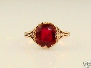 Estate-3ct-Natural-RUBY-14k-Rose-Gold-Filigree-Ring