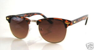 Tortoiseshell-Brown-Clubmaster-Vintage-Retro-Style-Sunglasses-by-Rayflector-NEW