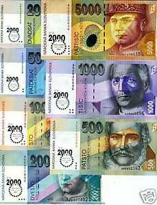 Slovakia-Set-20-50-100-200-500-1000-5000-Rare-2000-UNC