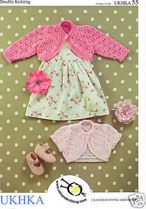 Girls Baby Boleros Knitting Pattern - DK (0-6yr) UKHKA 55