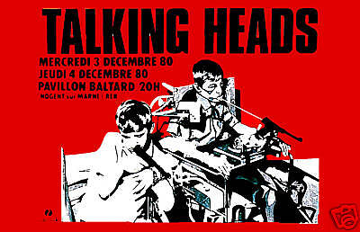 1980's New Wave: Talking Heads at  Paris France Concert Poster 1980