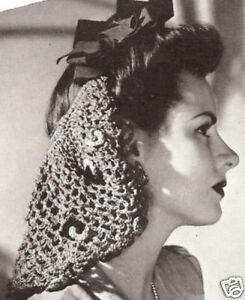 Crochet Hair Net Snood Pattern : ... -Crochet-PATTERN-to-make-Snood-Hair-Net-Long-Tied-Design-Bow-Snood