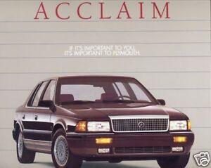 1989 plymouth acclaim 22 page original dealer sales. Black Bedroom Furniture Sets. Home Design Ideas