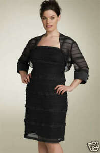 new-RRP-330-JS-COLLECTIONS-BLACK-DRESS-amp-BOLERO-SET-10-12-last