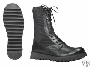 Black-Ripple-Sole-Jungle-Boots-Super-Comfortable-Canvas-amp-Leather-Uppers