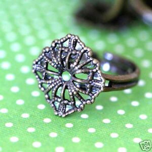 2pcs BRASS Adjustable Flower Ring Base - Nickel Free K5