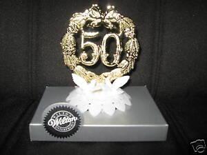 WILTON GOLD 50TH GOLDEN WEDDING ANNIVERSARY CAKE TOPPER 50 ...