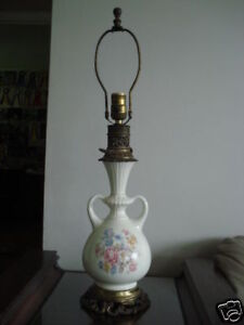 Image Is Loading Vintage Ceramic And Cast Iron Table Lamp By