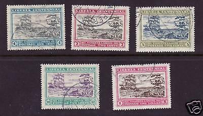 Liberia # 209-13 Complete Set of 1923 Ships