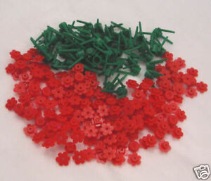 50 NEW RED LEGO FLOWERS bulk brick flower lot w/stems