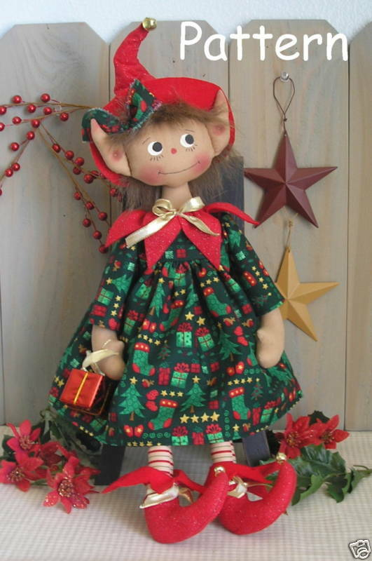 Pattern Primitive Raggedy Elf Cloth Doll 25 Holiday Folk Art Christmas Sewing