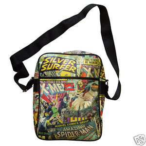 MARVEL COMICS OFFICIAL SPIDERMAN X-MEN RETRO FLIGHT MESSENGER SHOULDER BAG