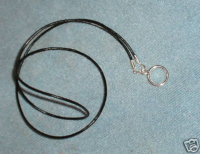 "Simple Black Leather eyeglass holder cord, with 1/2"" silver LOOP necklace style"