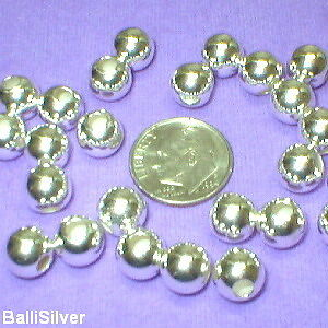 10 Sterling SILVER 8mm SEAMLESS BEADS Lot - BalliSilver