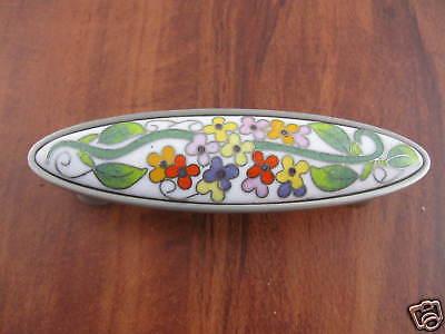 Cloisonne Pull Lantana Nickel Floral Kitchen Cabinet Dresser