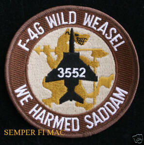F-4G-WILD-WEASEL-PATCH-HARMED-SADDAM-3552-OIF-IRAQ-WAR-PIN-UP-US-AIR-FORCE-GIFT