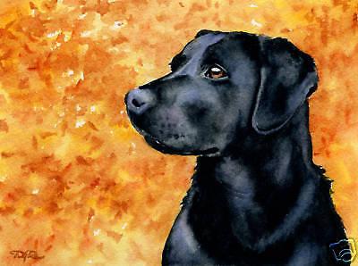BLACK LAB Watercolor Dog 8 x 10 Art Print Signed by Artist DJR