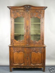ANTQIUE-CARVDED-LOUIS-XV-FRENCH-COUNTRY-DEUX-CORPS-BOOKCASE-CABINET
