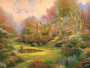 Thomas-Kinkade-GARDENS-BEYOND-SPRING-GATE-Two-2-Postcards