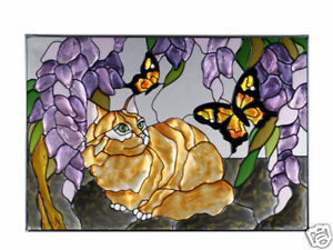 20x14 Orange TABBY CAT Floral Stained Art Glass Window Suncatcher