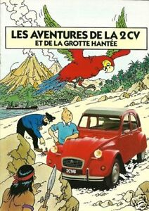 Citroen 2cv Tintin 1970's Advertising Poster A3 reprint