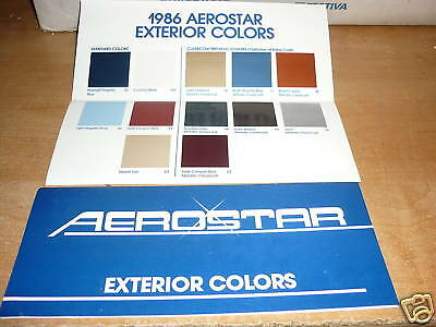 1986 Ford Aerostar Dealer Color Chip Selector Chart