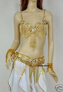 Brand-New-Sexy-Belly-Dance-2-Pcs-Costume-Bra-amp-Belt-Gold