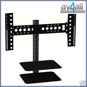 Tv wall bracket with glass av shelf sky dvd avf esl822b - Support tv mural avec etagere ...