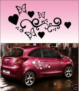 2x-Butterfly-Heart-Vinyl-Car-Graphics-Stickers-Decals