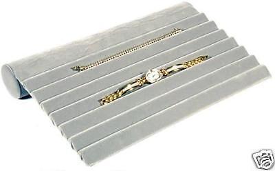 Gray Velvet 7 Slot Bracelet Jewelry Ramp Stand Display