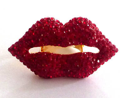 Butler And Wilson Crystal Enamel Large Lip Ring Size Uk L Qvc Sm Us 5.5 Last One