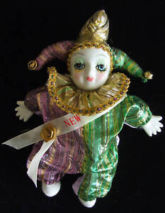 Porcelain JESTER Doll Mardi Gras COLORS New Orleans