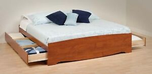 Cherry King Mate S Platform Storage Bed With  Drawers