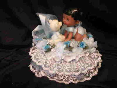 Baby Shower Cake Top Centerpiece Black Baby With Bear