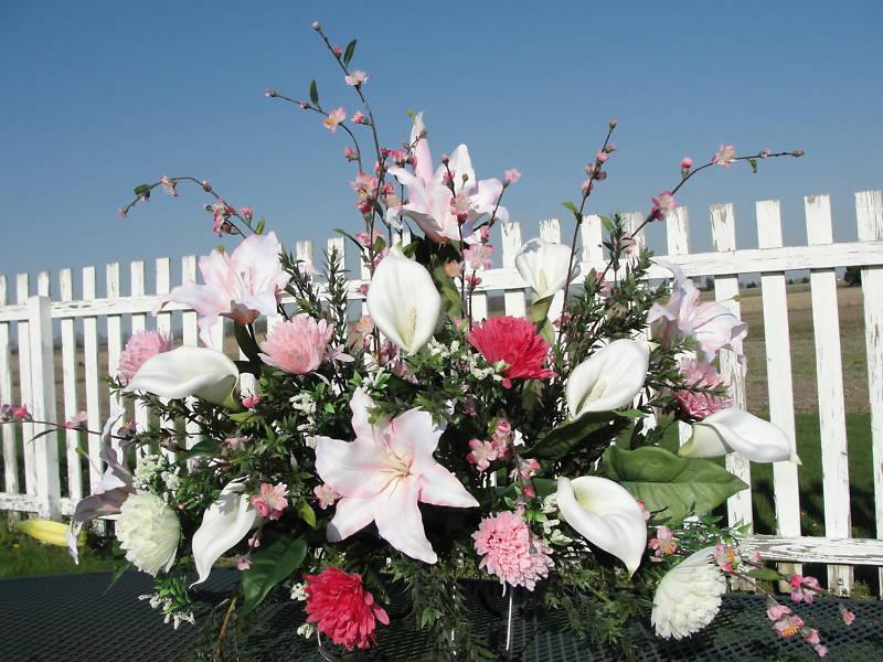 Cemetery Flowers Casablanca Calla Lilies Cherry Branch