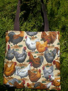 Chicken-Tote-Bag-Hen-Rooster-Barn-Coop-Farm-Realistic-Country-Handmade-Purse
